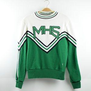 Vintage Varsity Size 44 Green/ White Sweater